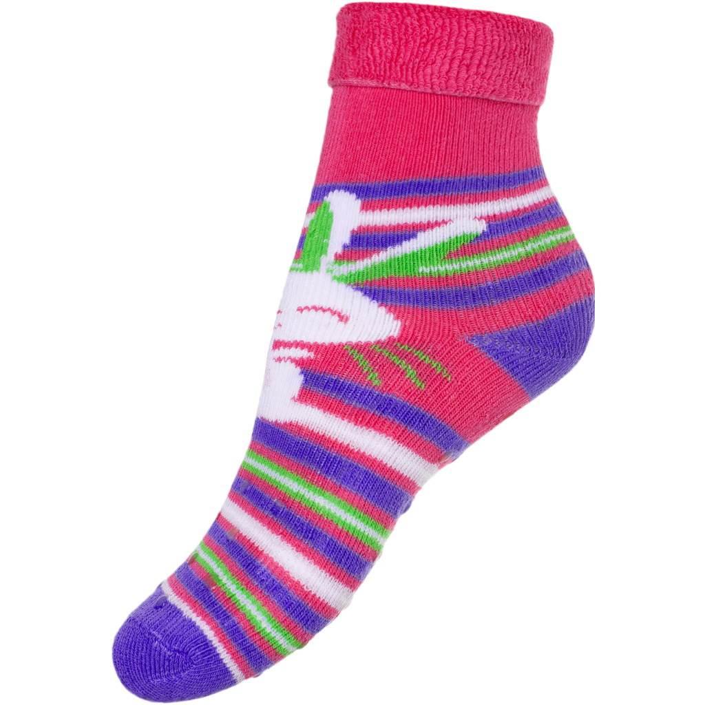 Dětské froté ponožky New Baby s ABS růžové s zajíčkem  9977e31ec5